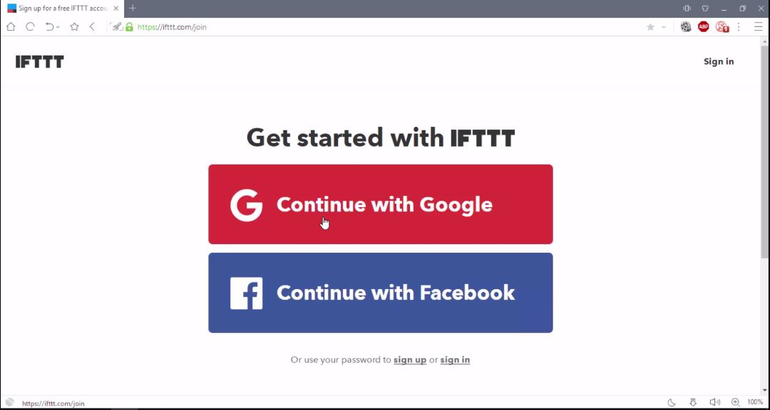 IFTTT if this than that sign up/login google or facebook [Home Automation using NodeMCU and google assistant]