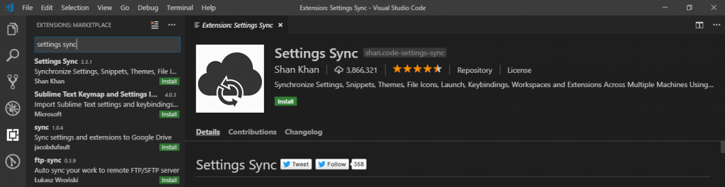 Settings sync vs code plugin - codeometry