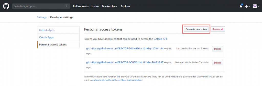 Github Gist token page to Generate new token
