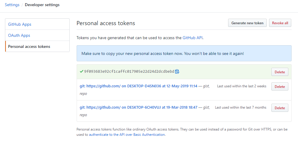 Copy the newly generated access token hash for future use.